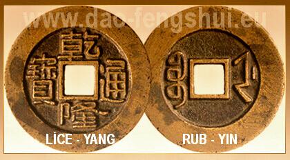 čínska minca-líce a rub-yin-yang
