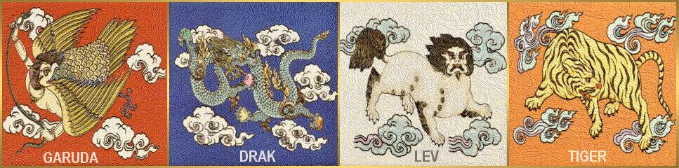 tibet - garuda-drak-snežný lev-tiger